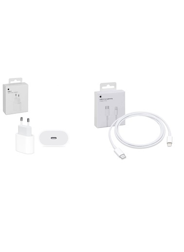 Apple USB-C to Lightning 1m Kablo + USB-C 18w Şarj Cihazı Renkli